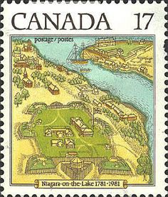 Niagara-on-the-Lake was founded after the American Revolution by Great Britain which bought a six-mile-wide strip of land on the west bank of the Niagara River about 14 miles north of Niagara Falls for loyalists who had left the new nation. In 1812 it was burned by the Americans. The picture shows the community in 1781. The settlement in the upper right corner is Youngstown, New York.
