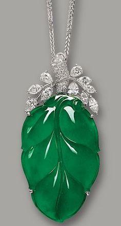 Jadeite 'Leaf' and Diamond Pendant Necklace
