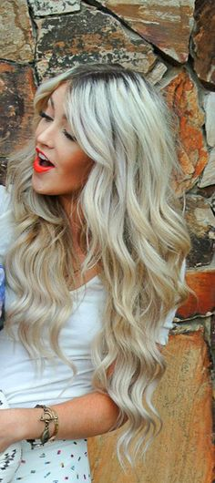 long blond hair + bright lips