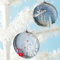 Recycle last year's Christmas ornaments and old canning jar lids into these beautiful DIY Christmas ornaments, with the tutorial at BHG.  Throw a family picture or monogram in there