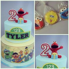 Sesame street theme cake with matching theme cookies.  Elmo topper handmade by me, printed icing image for the bottom tier.