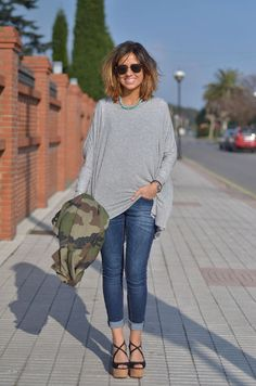 {outfit inspiration} grey + jeans + camo + black wedges