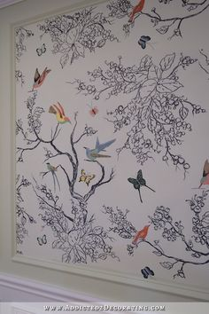 Hand Drawn Birds & Butterflies Entryway Wall Mural – (Almost) Finished! Wall Murials, Wall Decor, Mural Wall, Mural Painting, Diy Painting, Painted Feature Wall, Art Mur, Kids Room Murals, Kitchen Wall Colors