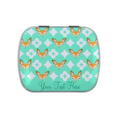 Edit this adorable fox design with any text you'd like -- great personalized party favor for a Wedding, Anniversary, Engagement Party and so much more! Click CUSTOMIZE to change text color and font. Original art by me, Melanie Taylor - CreativeMel.com #custom #personalized #party #favor #candy #tin #gift #cute #fox #foxes #wedding #anniversary #engagement #event #treat #jelly #belly #fun #customized #pretty #birthday #occasion #special #original #pattern #vector #cartoon #tween #teen #sweet…