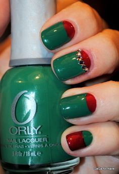 Christmas Half Moons! #nails  | Check out http://www.nailsinspiration.com for more inspiration!