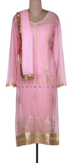 Buy Online from the link below. We ship worldwide (Free Shipping over US$100). http://www.kalkifashion.com/pink-semi-stitched-suit-adorn-in-sequin-only-on-kalki.html
