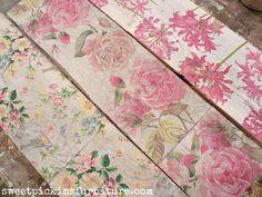 Do on dresser drawers. Sweet Pickins - napkins on wood Floral Wood Tutorial – Using Napkins! Decoupage Furniture, Diy Furniture, Furniture Design, Rustic Furniture, Modern Furniture, Decoupage Wood, Painting Wooden Furniture, Furniture Projects, Kitchen Furniture