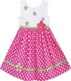 Ensolarado Fashion Girls Vestido Pink Dot Flower bordado Vestido de Verão Tamanho 2