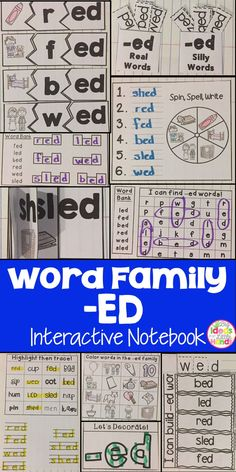 This is a Word Family Interactive Notebook to help students practice and learn CVC words and word families. There are 22 different activities for the word family -ed to help your students master the word family. You may choose which activities are best for your students. The activities include: - Sort by word family - Word Family Word Search - ABC Order - Roll, Write, Graph - Spin, Write, Graph - Real & Not Real Pockets - Building Words - Highlight then Trace - Color the Pictures - Decorate…