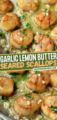 Learn the best way to prepare scallops! This recipe lets you cook like a head chef. With just a handful of ingredients and a few minutes, you can taste a little bit of heaven from these beautiful, scrumptious Garlic Lemon Butter Seared Scallops! Save this dinner idea!