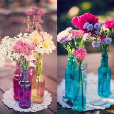I like the contrasting colors of the vase and the flowers.although I would want the dominating color palette to be a little softer, perhaps more pastel colors Vase Centerpieces, Wedding Centerpieces, Wedding Decorations, Brunch Wedding, Our Wedding, Havanna Party, Alice In Wonderland Wedding, Summer Wedding Colors, Diy And Crafts Sewing