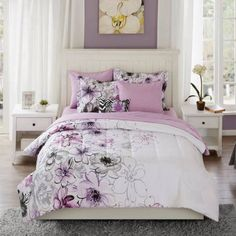 Mainstays Watercolor Floral Coordinated Bedding Comforter Set, Purple