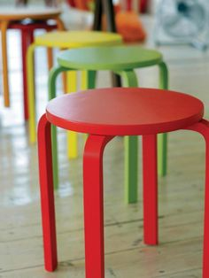 Brightly painted stools