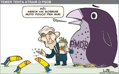 Charge do Lute sobre o vice-presidente Michel Temer e sua tentativa a aproximação do PSDB (26/04/2016). #Charge #Lute #Política #PSDB #Temer #MichelTemer #PMDB #HojeEmDia