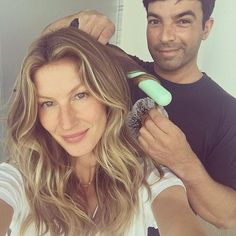 If it's not broke, don't fix it: Beachy waves have become Gisele Bundchen's, who turned 36...