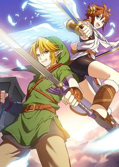 Two Super Smash Bros. Link from The Legend of Zelda and Pit from Kid Icarus. Nintendo Characters, Video Game Characters, Nintendo Games, Wii U, Gi Joe, Manga Anime, Super Smash Bros Melee, Kid Icarus Uprising, Chibi