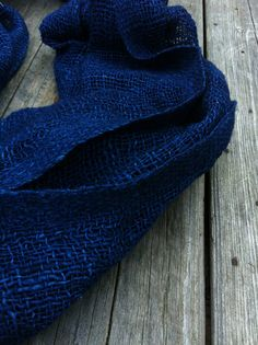 organic indigo handspun cotton shawl  Wow blue my fav color, and on a scarf even better