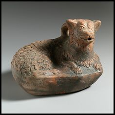 Terracotta askos in the form of a dog, 2nd–1st century B.C.. Hellenistic. Greek. The Metropolitan Museum of Art, New York. Museum Accession (X.21.12) #dogs