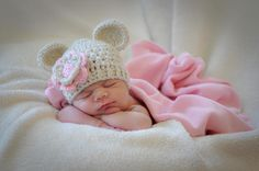 Crochet Baby Hat, Baby Girl Crochet Hat with Ears-Oatmeal and Light Pink 0-3, 3-6 or 6-12 months-MADE TO ORDER. $18.00, via Etsy.