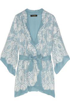 jenny packham chantilly lace and silk-chiffon robe.