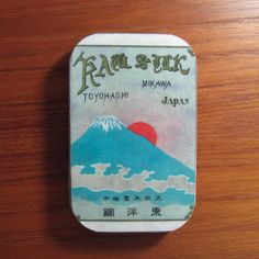 Mount fuji vintage metal box