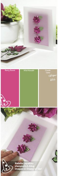 Homemade vellum cover cards by Natalie Lapakko featuring Remarkable You stamps and Foil Frenzy DSP from Stampin' Up! Color inspiration: Berry Burst, Wild Wasabi, Crumb Cake