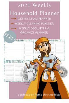 2021 Weekly Household Planner Free Planner, Planner Pages, Weekly Planner, Printable Planner, Free Printables, Planner Organization, Types Of Planners, Menu Planners