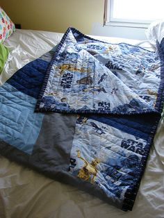 Star Wars Quilt by modernjax, via Flickr - I like the basic geometric quilting design