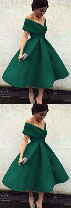 short prom dress,green prom dress,off shoulder prom gown M2644