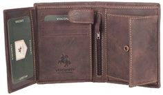 Visconti Hunter 709 Mens Coin & ID Holder Tri Fold Wallet Oiled Tan Brown Distressed Leather Visconti. $33.99. snaps down to bifold wallet size. Contrast stitchong. A distreesed oil tanned leather wallet from the popular Visconti collection. Holds 4 credit cards 2 full ID windows + snap coin compartment. leather
