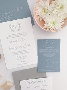 Dusty Blue Monogram Wedding Invitation Suite Letterpress Invitations