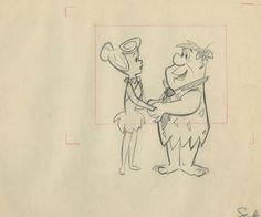 This is an original layout drawing from the Hanna Barbera Studios production of the 1965 episode of The Flintstones entitled, Samantha. This layout drawing features Fred Flintstone,Wilma Flintstone and was created at the studio and used during the production of the episode.