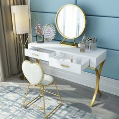 Dressing Table Storage, Small Dressing Table, Dressing Tables, Home Decor Bedroom, Modern Bedroom, Living Room Decor, Bedroom Small, Nordic Bedroom, Minimalist Window