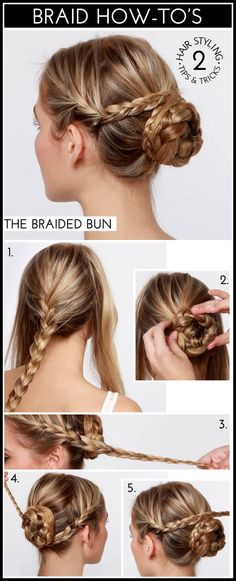 Braid on the sides/Braided bun- a fun hair style for a special event, party or holiday! The Braided Bun hair tutorial! Braided Hairstyles Tutorials, Pretty Hairstyles, Easy Hairstyles, Braid Tutorials, Hairstyle Ideas, Wedding Hairstyles, Hairstyles 2018, Formal Hairstyles, Fashion Hairstyles