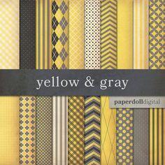 Yellow and Gray Digital Paper  Digital Craft by paperdolldigital