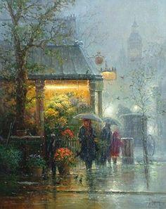 """Old London"" Gerald Harvey (Jones) ~ G. Harvey's early interest in art… Rainy Mood, Rainy Night, Walking In The Rain, Singing In The Rain, I Love Rain, Rain Painting, Rain Days, Grafik Design, Beautiful Paintings"