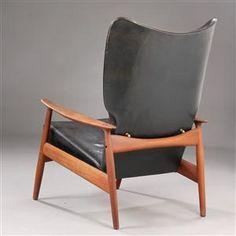 K. Rasmussen; #3001 'Clipperstol' Reclining Armchair and Ottoman for K. Rasmussen Møbelfabrik, 1958.