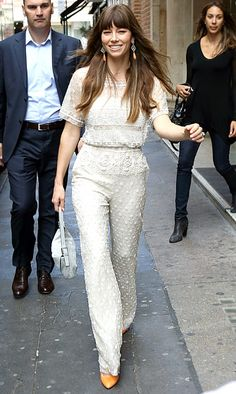 Jessica Biel wore a Valentino jumpsuit that manages to look modern and old-fashioned to an August 16, 2012 KISS-100 radio appearance.