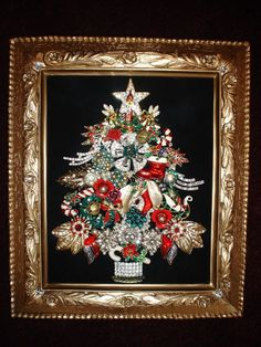 Vintage Jewelry Crafts Vintage Jewelry Framed Christmas Tree I Have Happy New Year Jeweled Christmas Trees, Christmas Tree Art, Christmas Jewelry, Vintage Christmas, Christmas Decorations, Christmas Ornaments, Xmas Trees, Costume Jewelry Crafts, Vintage Jewelry Crafts
