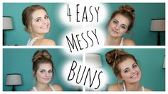 NO HEAT HAIRSTYLES: 4 Easy Messy Buns!| HauteBrilliance love this tutorial!