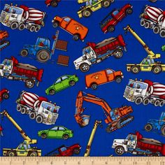 Job Site Trucks Allover Blue