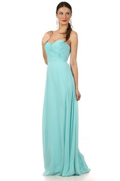 Long Chiffon Sweetheart Bridesmaids Dress in Mint