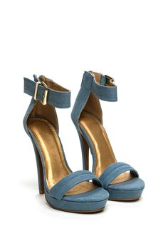 Stay High Denim Heels BLUE