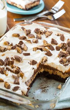 Chocolate Peanut Butter Casserole has four unique layers for a decadent and easy dessert. Make this ahead of time for potlucks or parties!