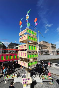 superstructure by morag myerscough and luke morgan is a temporary structure created for the kulturfestival in stockholm. Signage Design, Booth Design, Brochure Design, Temporary Structures, Environmental Graphics, Scaffolding, Beer Garden, Festival Decorations, Installation Art
