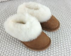 Children Kids Toddler Genuine Sheepskin Slippers 100% Leather Boots Rubber Sole by Cloomy on Etsy