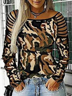 Camouflage Hollow Out Long Sleeve Top – Weslily.com