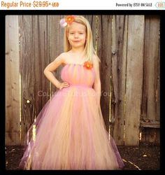 ON SALE-SAVE 10% Sherbet Tulle Dress pink by CoutureTutusForYou