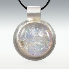 Large Sterling Silver Opal Dichroic Glass Memory Pendant - Round