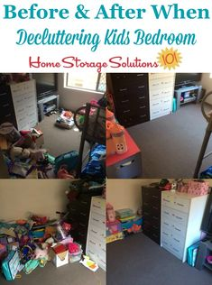Before and after photos when decluttering kids' bedroom {on Home Storage Solutions Declutter Bedroom, Clutter Control, Home Storage Solutions, Happy House, Family Organizer, Home Organization, Organizing Tips, Bedroom Storage, Kids Bedroom